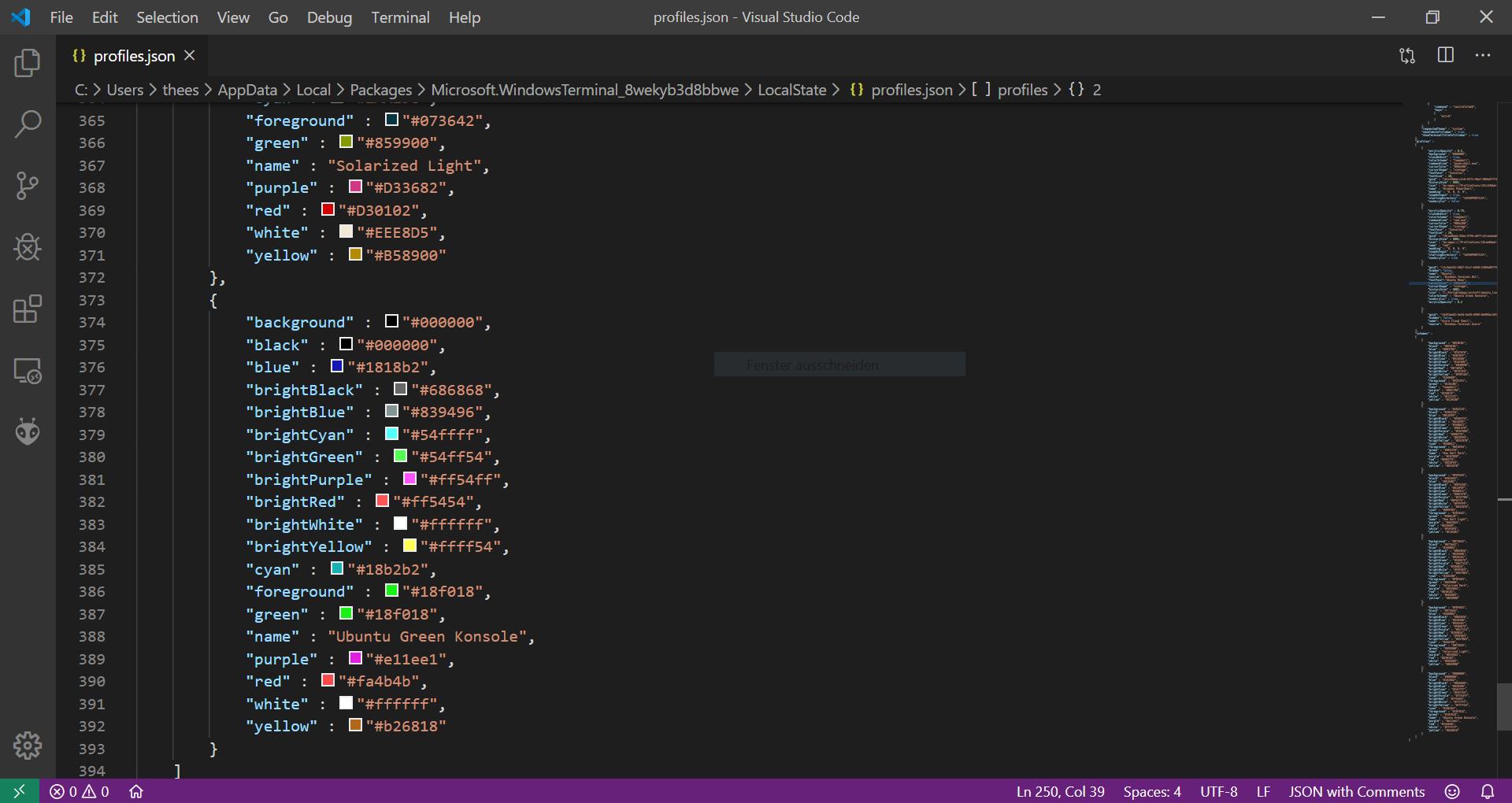 Visual Studio Code Terminal JSON bearbeiten